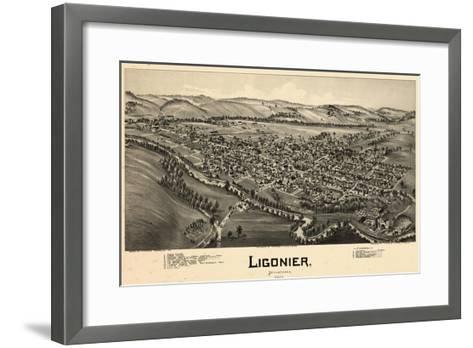 1900, Ligonier Bird's Eye View, Pennsylvania, United States--Framed Art Print