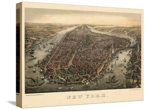 1873, New York City, 1873, Bird's Eye View, New York, United States--Stretched Canvas Print
