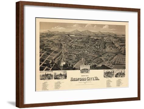 1891, Bedford City Bird's Eye View, Virginia, United States--Framed Art Print