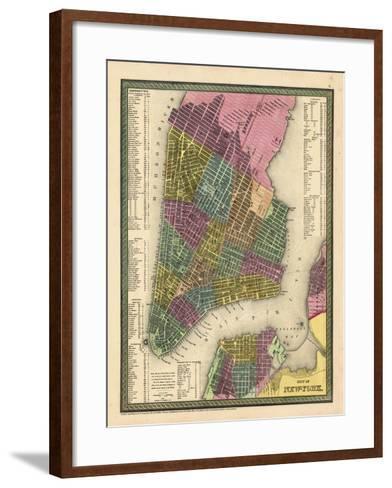 1850, New York City Battery ParkMap, New York, United States--Framed Art Print