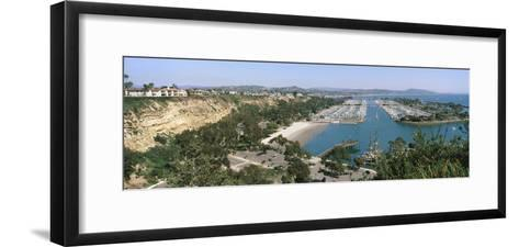 High Angle View of a Harbor, Dana Point Harbor, Dana Point, Orange County, California, USA--Framed Art Print