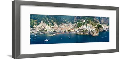 Aerial View of Towns, Amalfi, Atrani, Amalfi Coast, Salerno, Campania, Italy--Framed Art Print