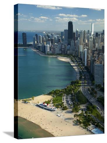 Aerial View of a City, Lake Michigan, Chicago, Cook County, Illinois, USA 2010--Stretched Canvas Print