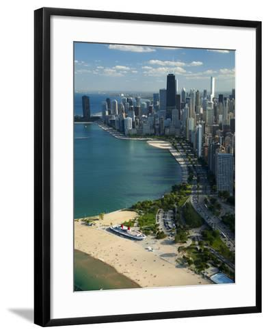Aerial View of a City, Lake Michigan, Chicago, Cook County, Illinois, USA 2010--Framed Art Print