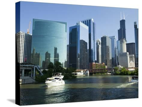 Motorboats in a River, Chicago River, Chicago, Cook County, Illinois, USA 2010--Stretched Canvas Print