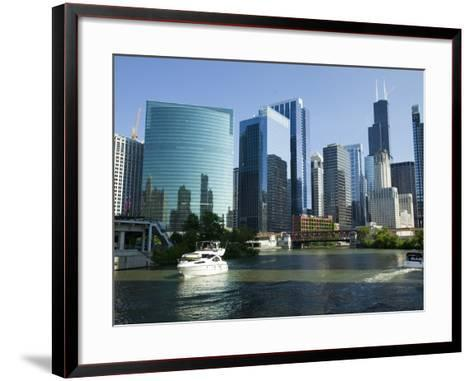 Motorboats in a River, Chicago River, Chicago, Cook County, Illinois, USA 2010--Framed Art Print