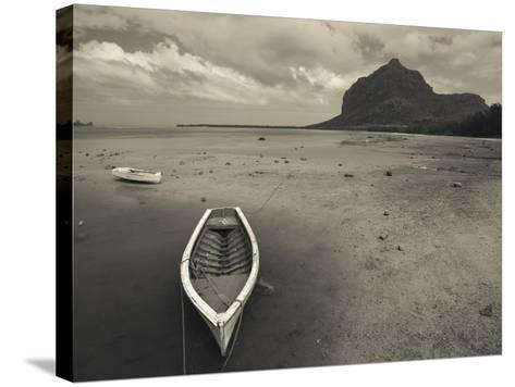 Boats on the Beach, Le Morne Brabant, Mauritius--Stretched Canvas Print