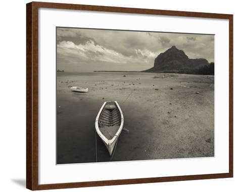 Boats on the Beach, Le Morne Brabant, Mauritius--Framed Art Print