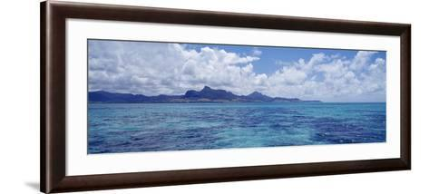 Ocean with Mountains in the Background, Mauritius--Framed Art Print