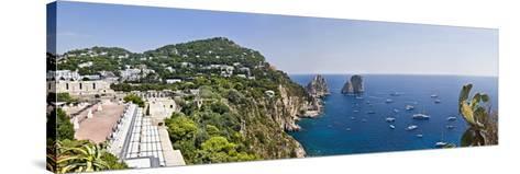 Boats in the Sea, Faraglioni, Capri, Naples, Campania, Italy--Stretched Canvas Print