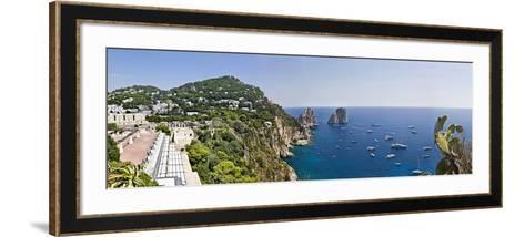 Boats in the Sea, Faraglioni, Capri, Naples, Campania, Italy--Framed Art Print