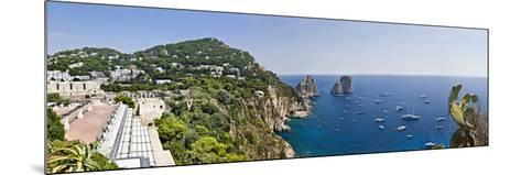 Boats in the Sea, Faraglioni, Capri, Naples, Campania, Italy--Mounted Photographic Print