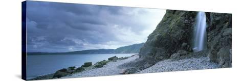 Waterfall on the Beach, Shingle Beach, Clovelly, North Devon, Devon, England--Stretched Canvas Print
