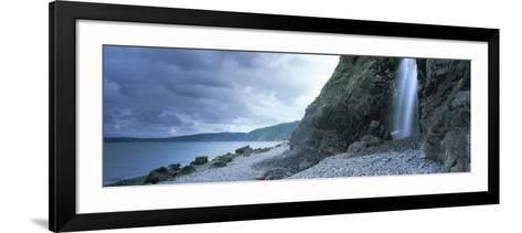 Waterfall on the Beach, Shingle Beach, Clovelly, North Devon, Devon, England--Framed Art Print