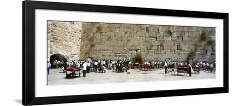 Crowd Praying in Front of a Stone Wall, Wailing Wall, Jerusalem, Israel--Framed Art Print