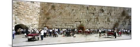 Crowd Praying in Front of a Stone Wall, Wailing Wall, Jerusalem, Israel--Mounted Photographic Print