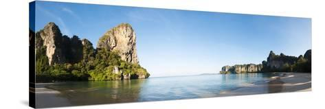 Rock Formations on the Coast, Railay Beach, Thailand--Stretched Canvas Print
