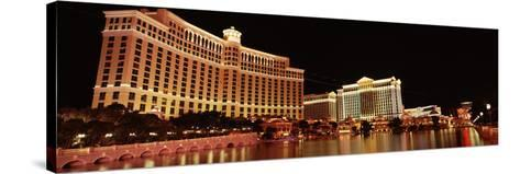 Hotel Lit Up at Night, Bellagio Resort and Casino, the Strip, Las Vegas, Nevada, USA--Stretched Canvas Print