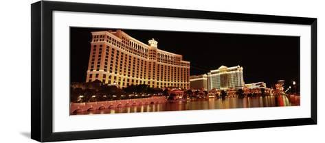 Hotel Lit Up at Night, Bellagio Resort and Casino, the Strip, Las Vegas, Nevada, USA--Framed Art Print