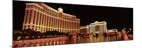 Hotel Lit Up at Night, Bellagio Resort and Casino, the Strip, Las Vegas, Nevada, USA--Mounted Photographic Print