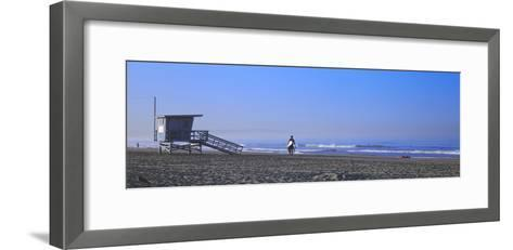 Rear View of a Surfer on the Beach, Santa Monica, Los Angeles County, California, USA--Framed Art Print