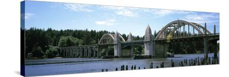 Bridge across the River, Siuslaw River Bridge, Siuslaw River, Florence, Oregon, USA--Stretched Canvas Print