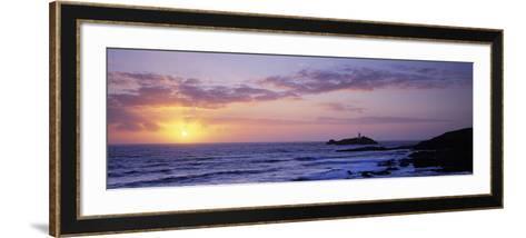Lighthouse on an Island, Godrevy Lighthouse, Godrevy, Cornwall, England--Framed Art Print