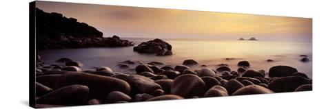Sunset over the Ocean, Porth Nanven, Cornwall, England--Stretched Canvas Print