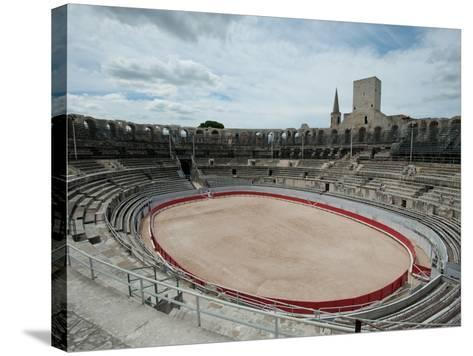 Ancient Amphitheater in a City, Arles Amphitheatre, Arles, Bouches-Du-Rhone, Provence-Alpes-Cote...--Stretched Canvas Print
