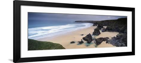 Rock Formations on the Coast, Carnewas and Bedruthan Steps, St. Eval, Cornwall, England--Framed Art Print