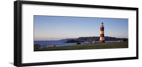 Lighthouse on the Coast, Smeaton's Lighthouse, Plymouth Hoe, Plymouth, Devon, England--Framed Art Print