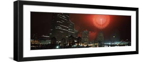 Fireworks Display in the Sky, Minato Mirai, Yokohama, Kanagawa Prefecture, Japan 2010--Framed Art Print