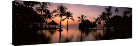Sunset over Hotel Pool, Lombok, West Nusa Tenggara, Indonesia--Stretched Canvas Print