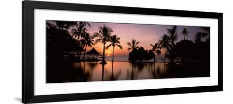 Sunset over Hotel Pool, Lombok, West Nusa Tenggara, Indonesia--Framed Art Print