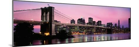 Brooklyn Bridge across the East River at Dusk, Manhattan, New York City, New York State, USA--Mounted Photographic Print