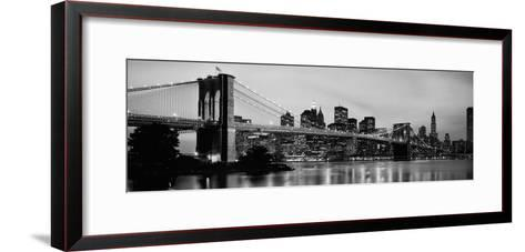 Brooklyn Bridge across the East River at Dusk, Manhattan, New York City, New York State, USA--Framed Art Print