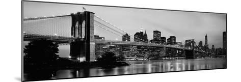 Brooklyn Bridge across the East River at Dusk, Manhattan, New York City, New York State, USA--Mounted Photographic Print