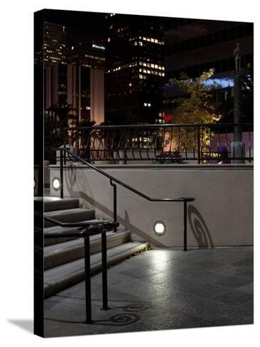 Steps of a Building at Night, US Bank Tower, Los Angeles, California, USA--Stretched Canvas Print