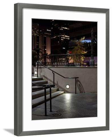 Steps of a Building at Night, US Bank Tower, Los Angeles, California, USA--Framed Art Print