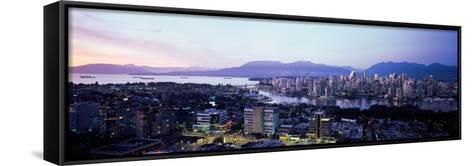 Aerial View of Cityscape at Sunset, Vancouver, British Columbia, Canada--Framed Canvas Print