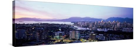 Aerial View of Cityscape at Sunset, Vancouver, British Columbia, Canada--Stretched Canvas Print
