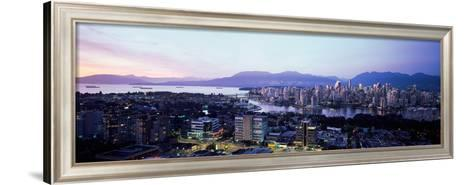 Aerial View of Cityscape at Sunset, Vancouver, British Columbia, Canada--Framed Art Print