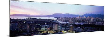 Aerial View of Cityscape at Sunset, Vancouver, British Columbia, Canada--Mounted Photographic Print