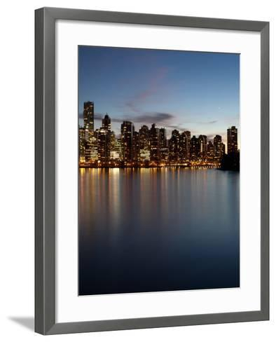 Downtown Skylines Lit Up at the Waterfront, Coal Harbor, Lost Lagoon, Vancouver, British Columbi...--Framed Art Print