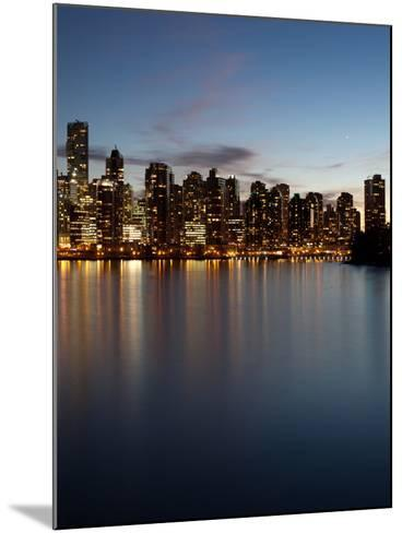 Downtown Skylines Lit Up at the Waterfront, Coal Harbor, Lost Lagoon, Vancouver, British Columbi...--Mounted Photographic Print