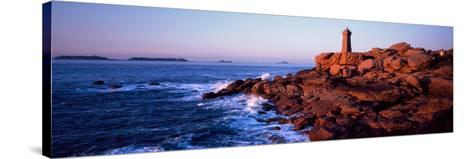 Lighthouse on the Coast, Ploumanach Lighthouse, Cote De Granit Rose, Cotes-D'Armor, Brittany, Fr...--Stretched Canvas Print