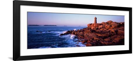 Lighthouse on the Coast, Ploumanach Lighthouse, Cote De Granit Rose, Cotes-D'Armor, Brittany, Fr...--Framed Art Print