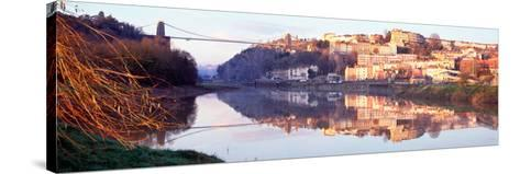 Suspension Bridge across a River, Clifton Suspension Bridge, Bristol, England--Stretched Canvas Print