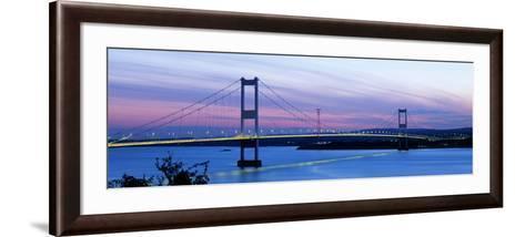Bridge across a River at Dusk, Severn Bridge, Aust, Gloucestershire, England--Framed Art Print
