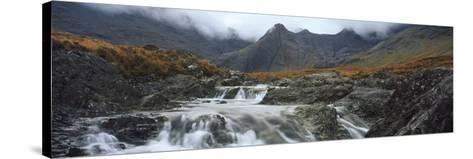 Water Falling from Rocks, Sgurr A' Mhaim, Glen Brittle, Isle of Skye, Scotland--Stretched Canvas Print